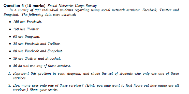 Solved Social Networks Usage Survey In A Survey Of 300 In
