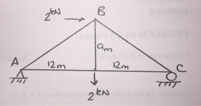Solved For The Truss Shown 12 Draw A Free Body Diagram O