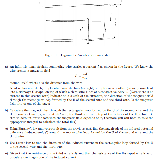 Solved: Figure 1: Diagram For Another Wire On A Slide. A ...
