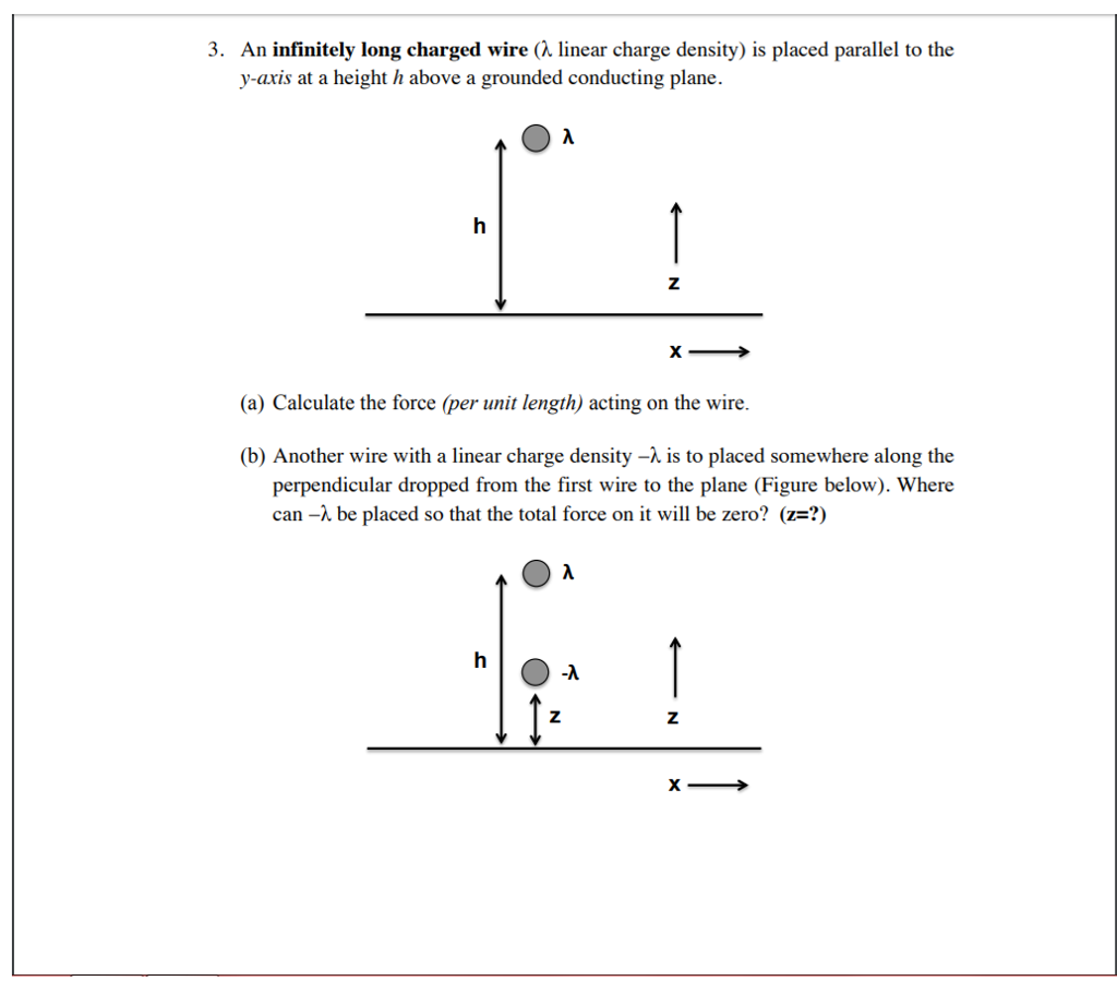 Solved: 3. An Infinitely Long Charged Wire (linear Charge ...