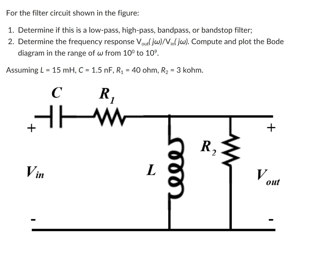 For the filter circuit shown in the figure: 1. Determine if this is a