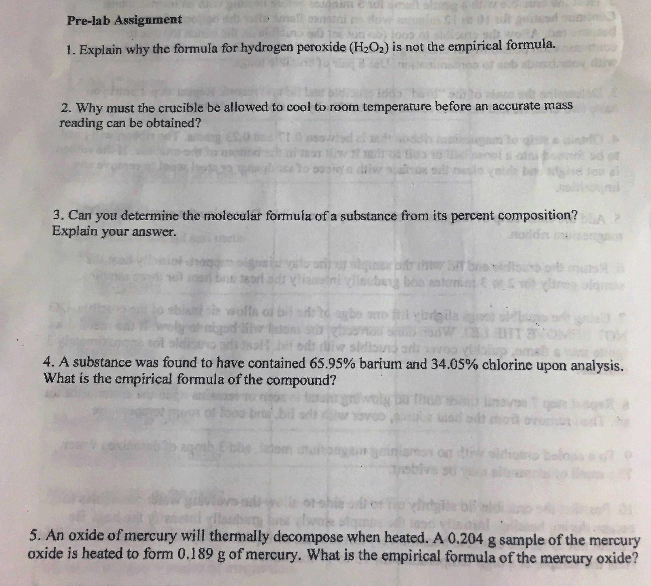 ap chem lab report determine the empirical formula of silver oxide Lab #5 the empirical formula of a compound you will make two valid determinations of the empirical formula of an oxide of running water and report to your.