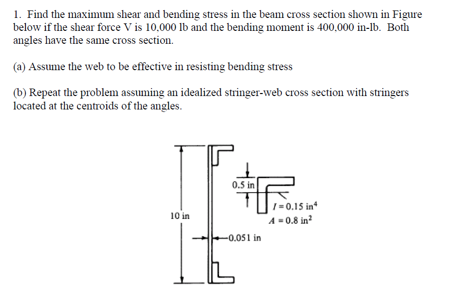 Solved: Find The Maximum Shear And Bending Stress In The B