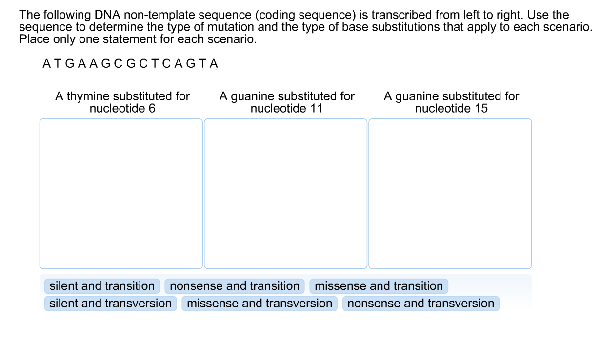 Solved: The Following DNA Non-template Sequence (coding Se ...
