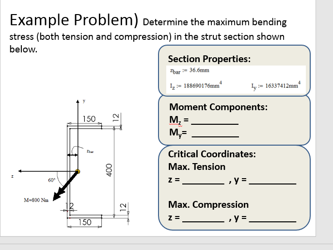 Solved: Example Problem) Determine The Maximum Bending Str