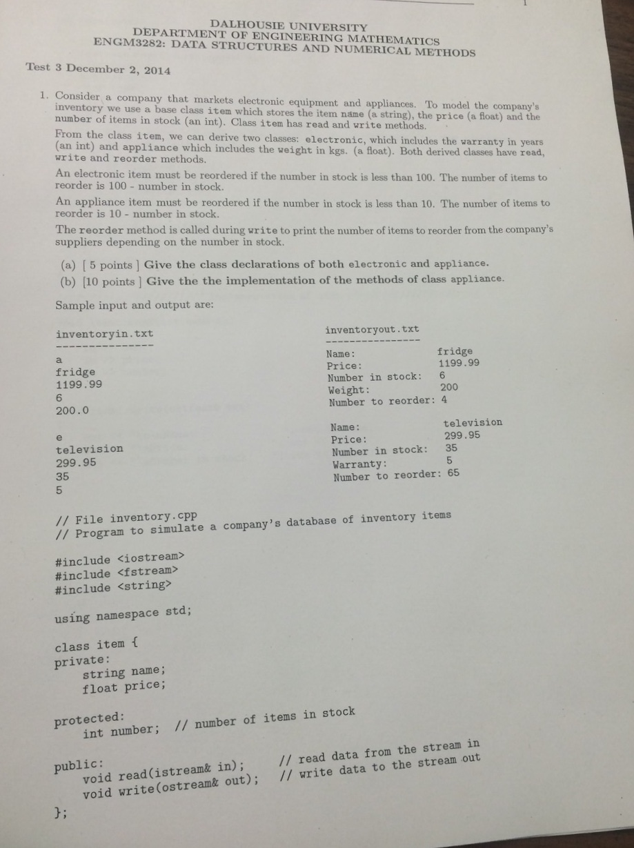 Dalhousie University Eng Department Of Engineering Mathematics Data  Structures And Numerical Methods Test 3 December 2, 2014 1