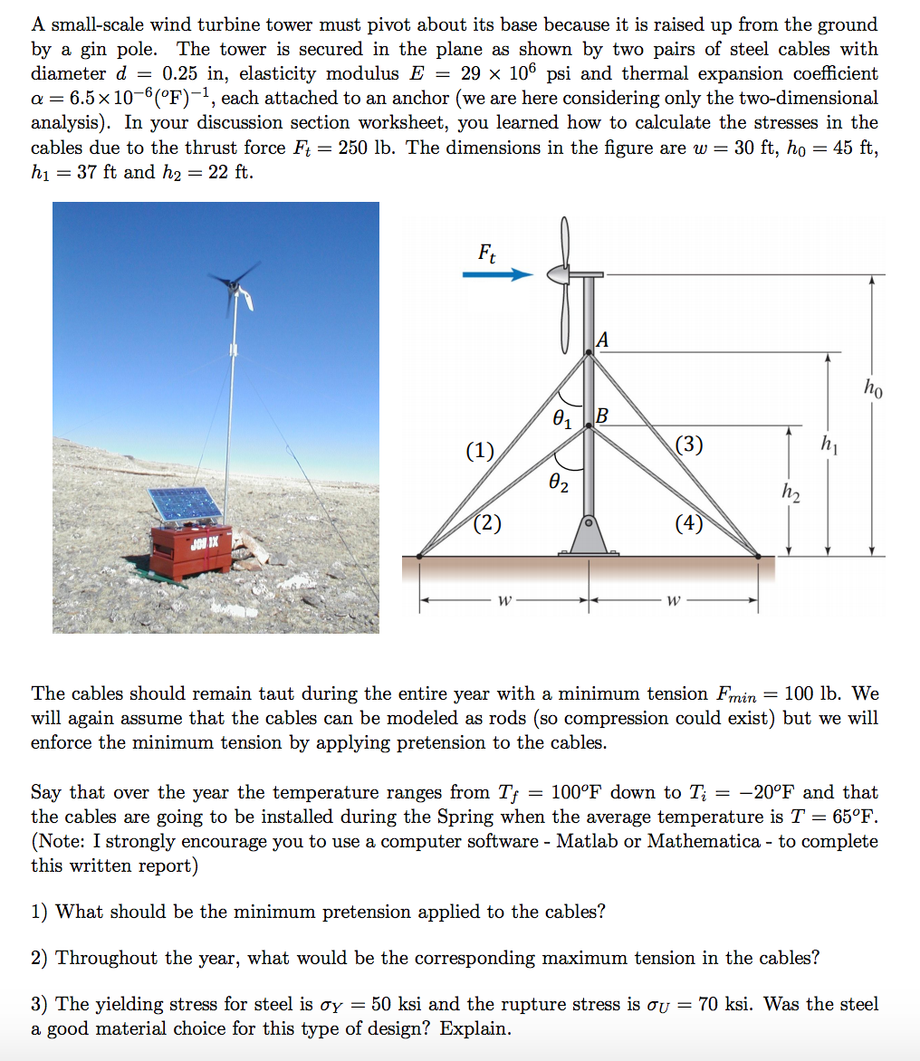 Solved A Small Scale Wind Turbine Tower Must Pivot About