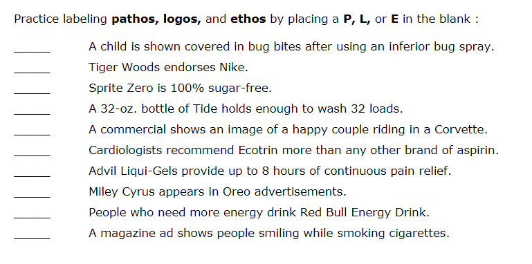 Solved: Practice Labeling Pathos, Logos, And Ethos By Plac ...