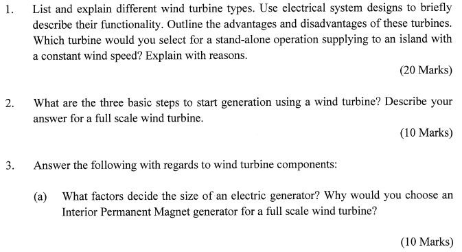 Solved: 1. List And Explain Different Wind Turbine Types ...