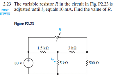 Solved: 2.23 The Variable Resistor R In The Circuit In Fig ...