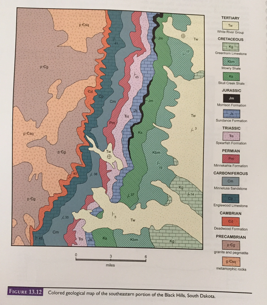 Solved: Colored Geological Map Of The Southeastern Of The ...