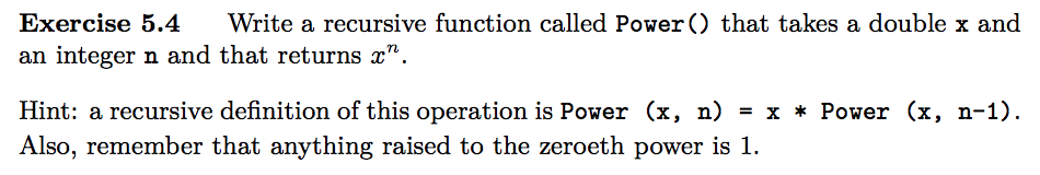 solved write a recursive function called power that tak