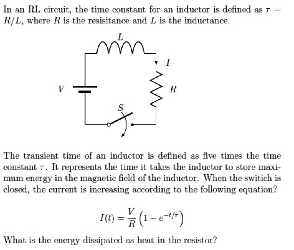solved in an rl circuit the time constant for an inducto rh chegg com