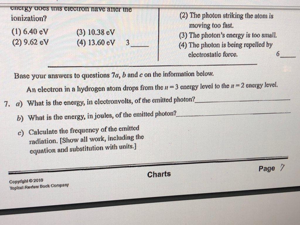Solved: --energyuoesmıs Electrom Nave-atterme- Ionization