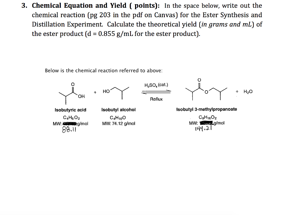 Solved 3 Chemical Equation And Yield Points In The S