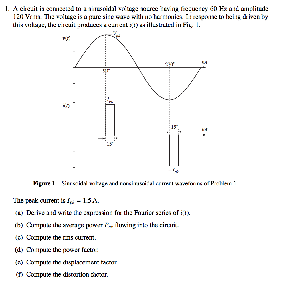 Solved A Circuit Is Connected To Sinusoidal Voltage Sou Current And In Series