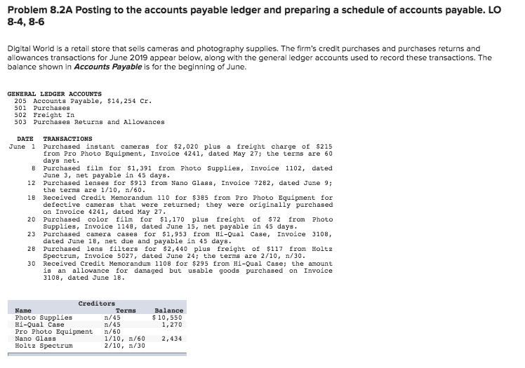solved problem 8 2a posting to the accounts payable ledge