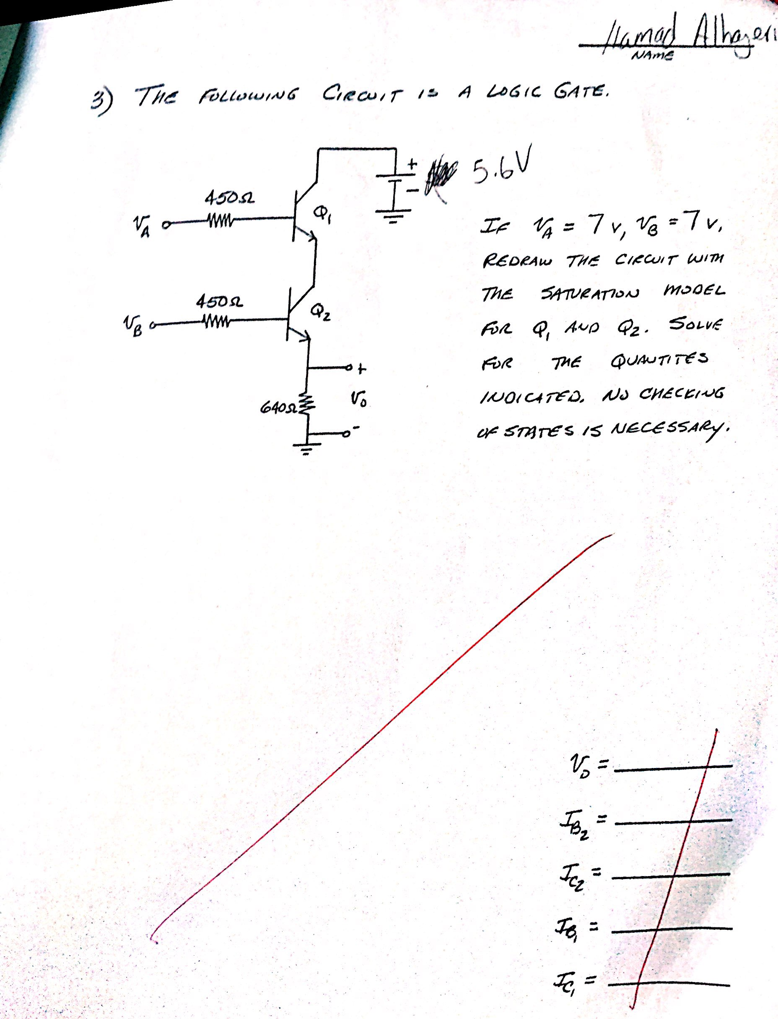 Solved The Following Circuit Is A Logic Gate If V 7v And 7