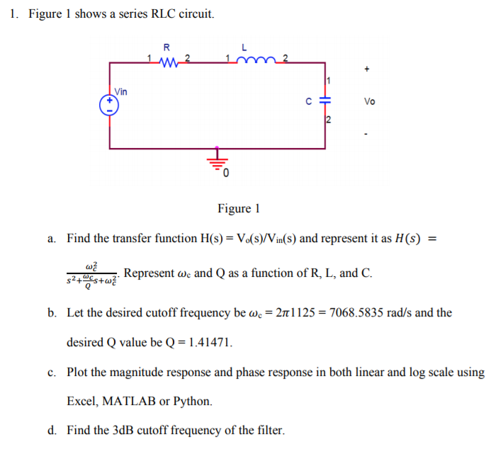Solved: 1. Figure 1 Shows A Series RLC Circuit. Vin Figure ...