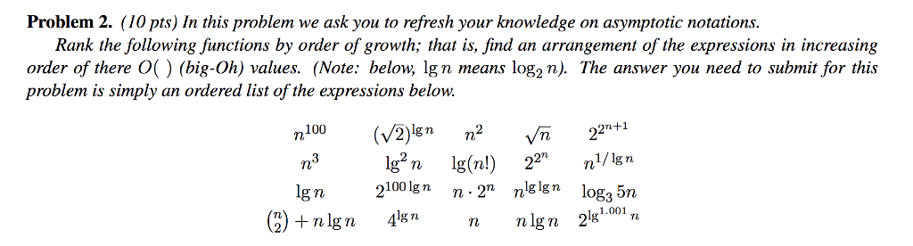 Problem 2. (10 pts) In this problem we ask you to refresh your knowledge on asymptotic notations. Rank the following functions by order of growth; that is, find an arrangement of the expressions in increasing Order of there (big-Oh) values. (Note: below, Ign means log2 n). The answer you need to submit for this problem is simply an ordered list of the expressions below. n100 (V2)lgn㎡ 22n+1 n g n 2100lgn n-2 nslgn log3 5n rt 1.001 2) +nlgn n n nlgn 28