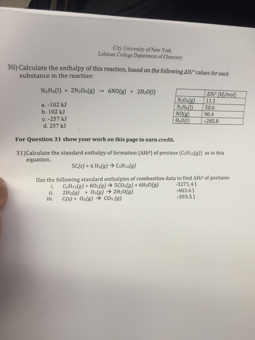 Solved: Calculate The Enthalpy Of This Reaction, Based On ...