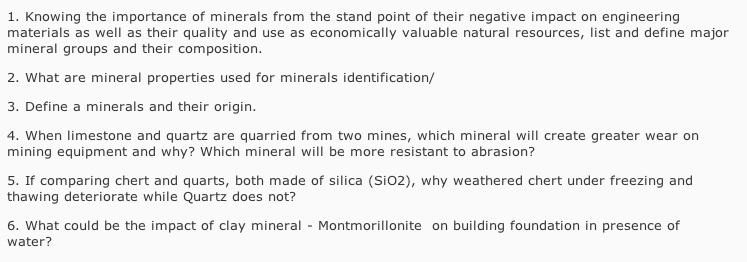 1  Knowing The Importance Of Minerals From The Sta    | Chegg com