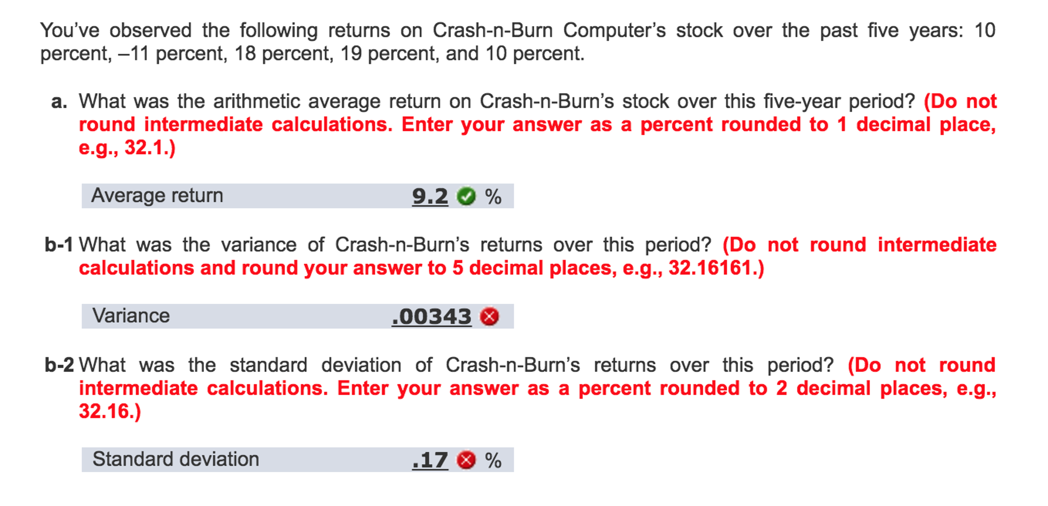 You've Observed The Following Returns On Crashnb