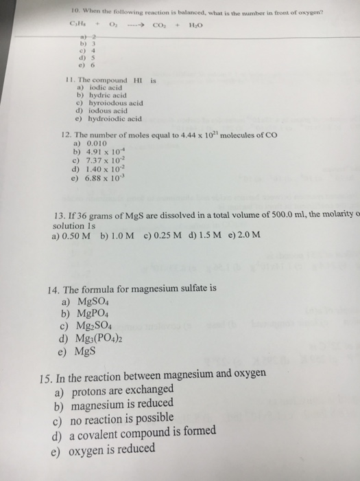 solved when the following reaction is balanced what is t