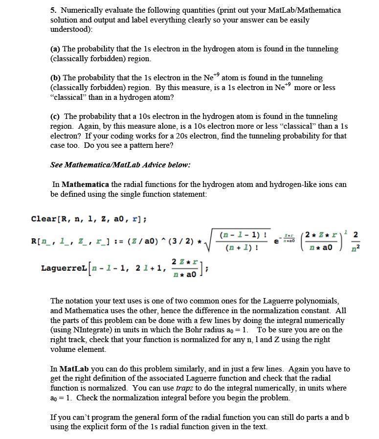 Numerically Evaluate The Following Quantities (pri      Chegg com