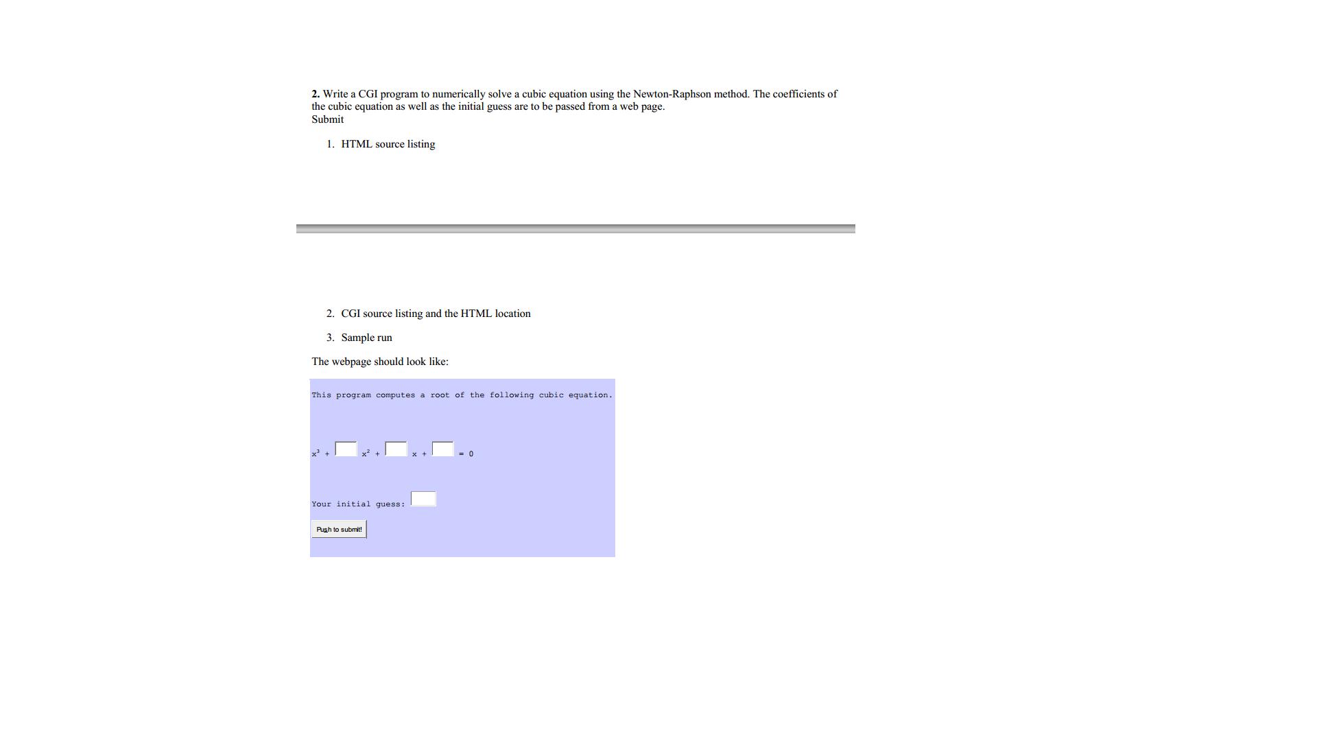 Write A Cgi Program To Numerically Solve A Cubic E Chegg