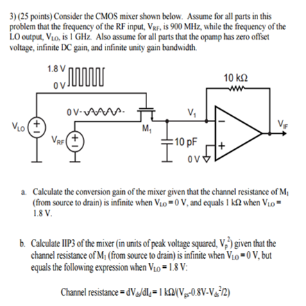 Consider The CMOS Mixer Shown Below Assume For All    | Chegg com