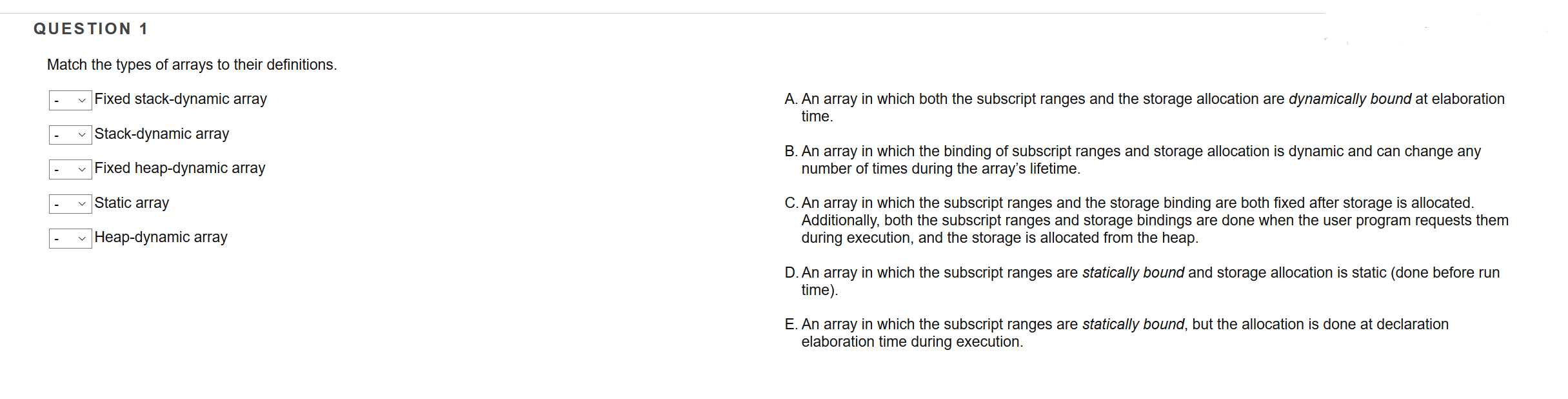 Solved: Match The Types Of Arrays To Their Definitions  Fi