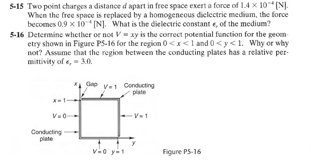 5-15 Two point charges a distance d apart in free space exert a force of 1.4 × 10-4 [N]. When the free space is replaced by a homogeneous dielectric medium, the force becomes 0.9 × 10-4 [N]. What is the dielectric constant er of the medium? 5-16 Determine whether or not V - xy is the correct potential function for the geom etry shown in Figure P5-16 for the region 0x <1 and0 <y<1. Why or why not? Assume that the region between the conducting plates has a relative per mittivity of E, = 3.0. Gap V-1 Conducting plate x= 1 Conducting -L plate V=0 y=1 Figure P5-16