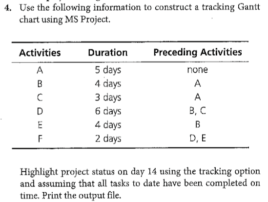 solved use the following information to construct a track