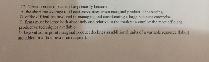 diseconomies of scale arise primarily because