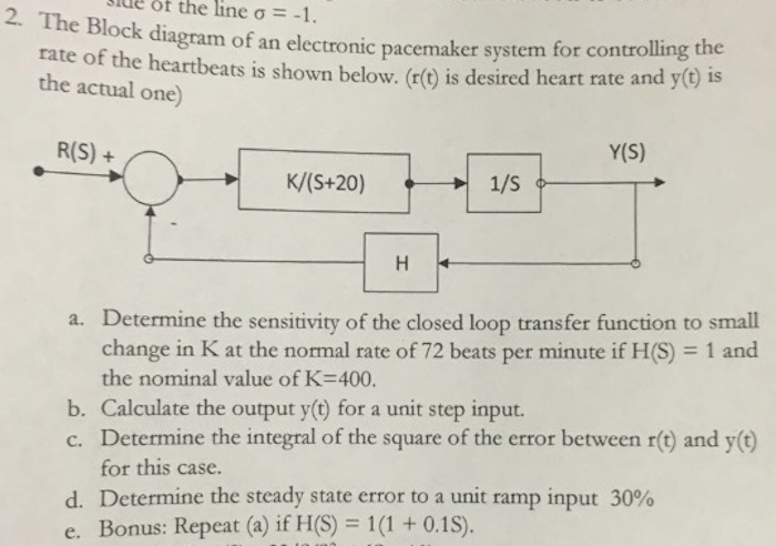 Solved: The Block Diagram Of An Electronics Pacemaker Syst ...