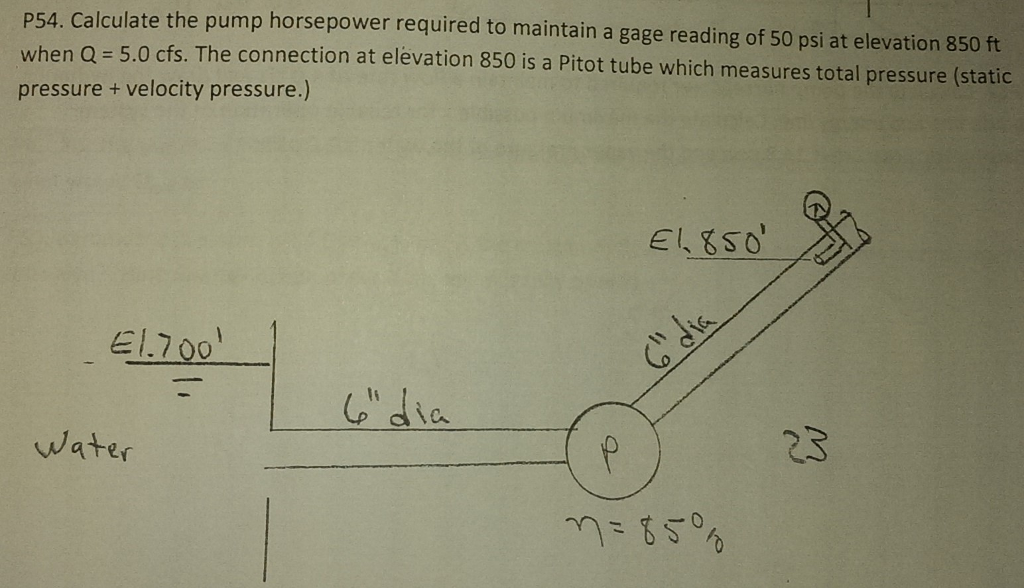 Solved: Calculate The Pump Horsepower Required To Maintain