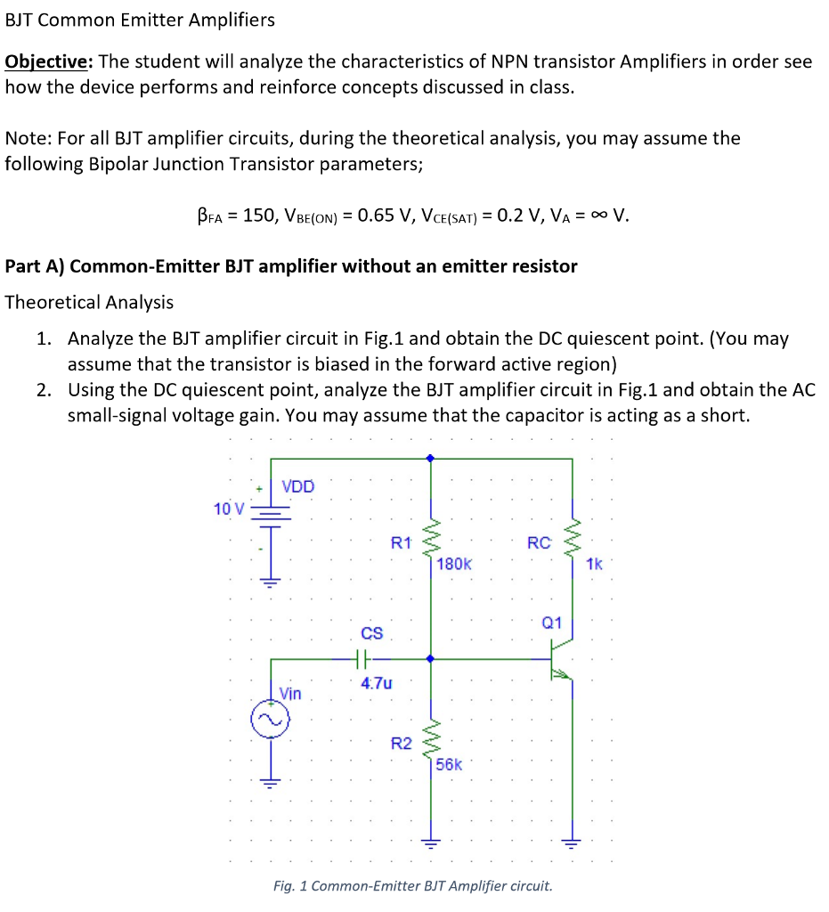 bjt common emitter amplifiers objective: the student will analyze the  characteristics of npn transistor amplifiers