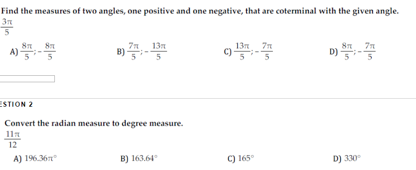 Solved Find The Measures Of Two Angles One Positive And