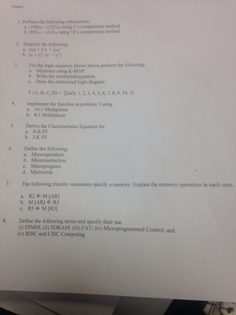 Solved Name 1 Perform The Following Subtractions A 8 Mux Logic Diagram 1001o