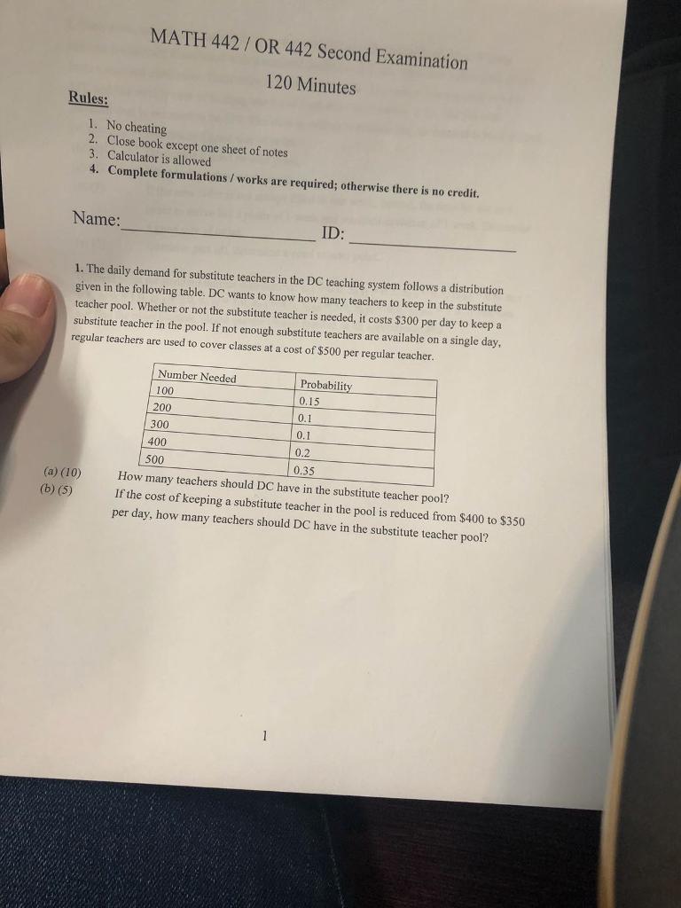 MATH 442/ OR 442 Second Examination 120 Minutes Ru