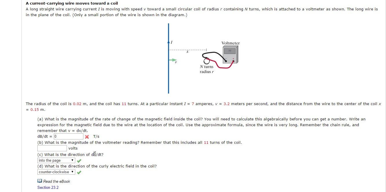 Solved A Long Straight Wire Carrying Current I Is Moving Cool Wiring Diagram Moves Toward Coil