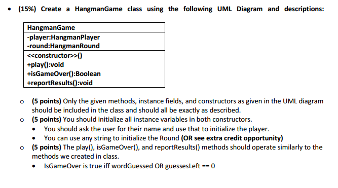 Solved 60 points create a hangmanround class using the uml diagram and descriptions in java please ccuart Gallery