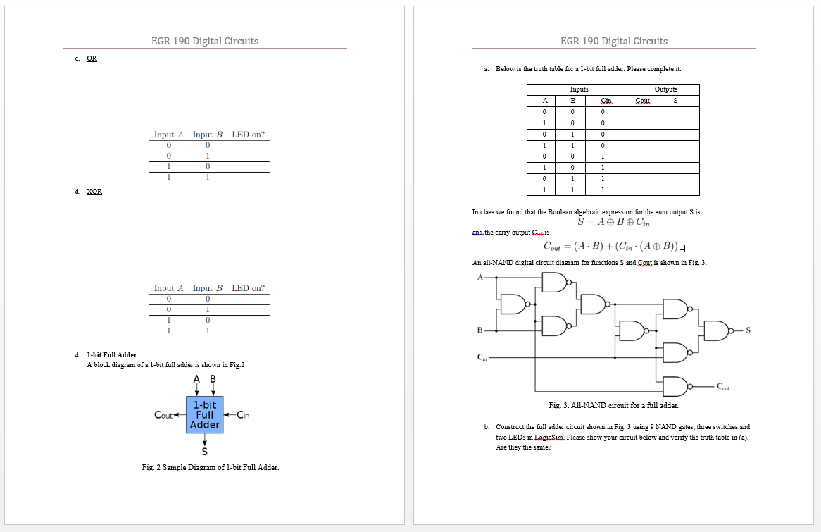 Solved Egr 190 Digital Circuits Design A 2bit Full Adder Circuit To Display Numbe Cheggcom See More Show Transcribed Image Text Construct Using Logicsim Please Copy Your
