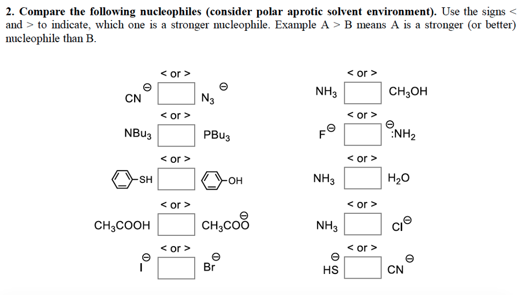 competing nucleophiles 2 butanol The electrons from the nucleophile cannot be added to the fully saturated ch2 group, so it is not possible for the nucleophile to add first and the leaving group to go it is only possible for the carbon atom to accept electrons if it loses some either before or at the same time as the nucleophile attacks.