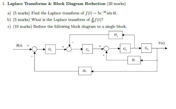 Solved 1 Laplace Transforms Block Diagram Reduction 2