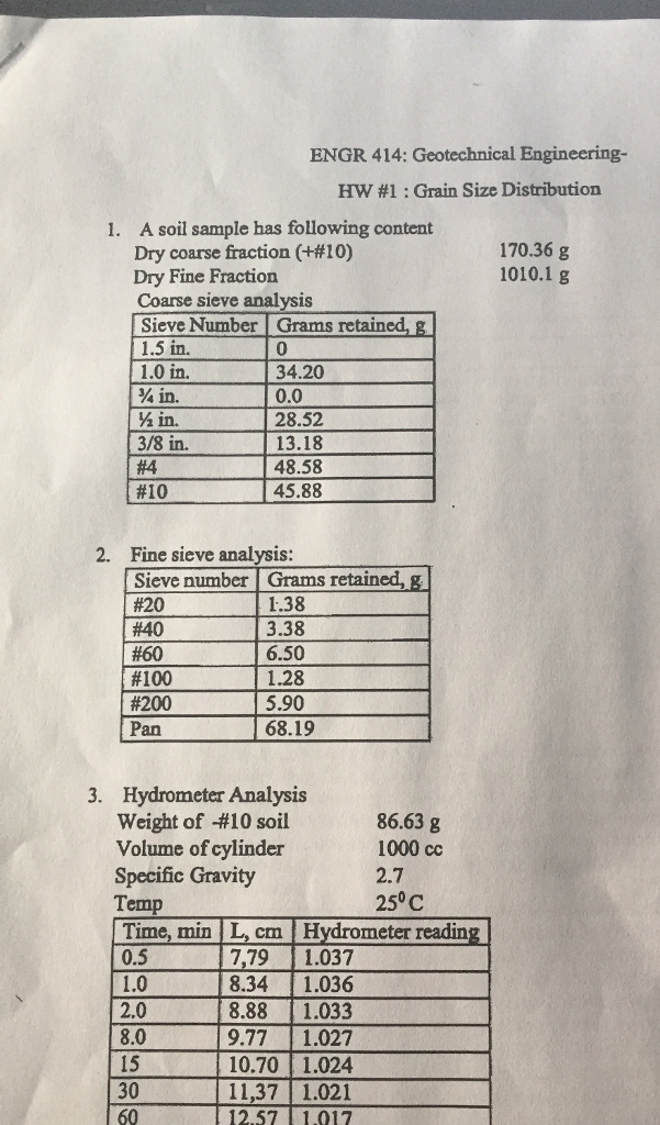 ENGR 414: Geotechnical Engineering Hw #1 : Grain Size Distribution A soil  sample has