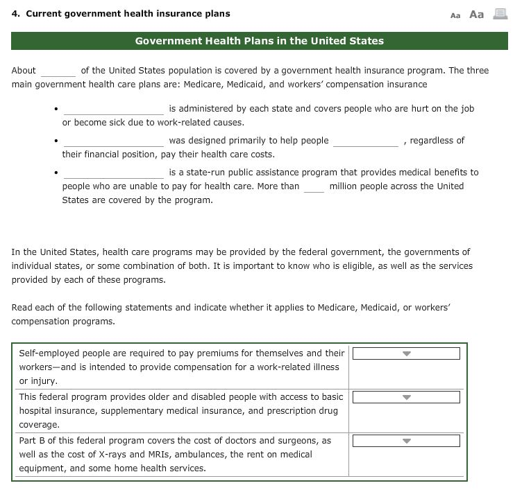 Solved: 4. Current Government Health Insurance Plans Aa Aa ...