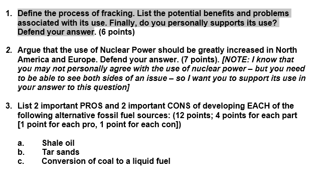 Solved Define The Process Of Fracking List The Potential Chegg Com