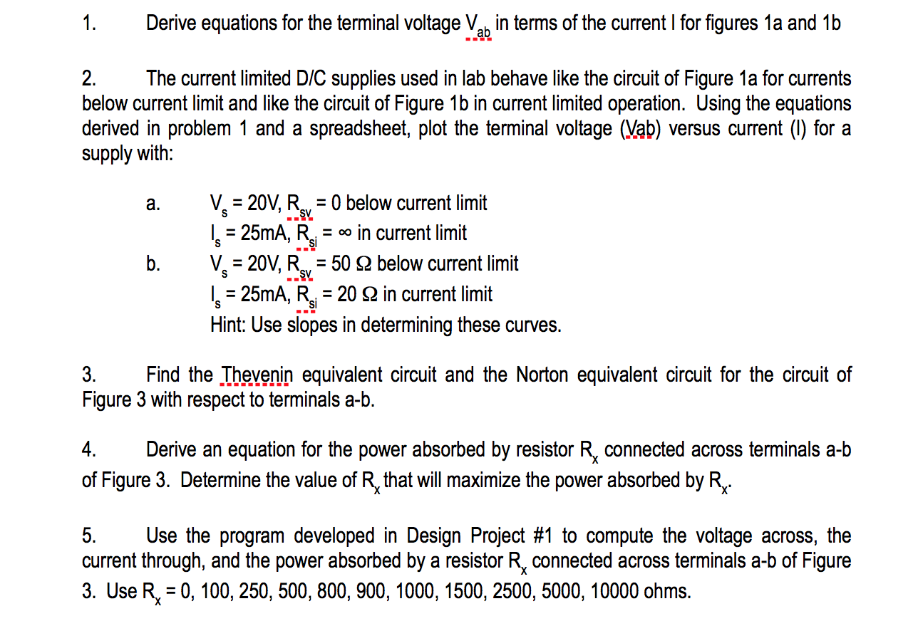 Solved Derive Equations For The Terminal Voltage Va In T Current Limit Circuit Terms Of I Figures